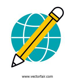 global sphere and pencil icon, half line half color style