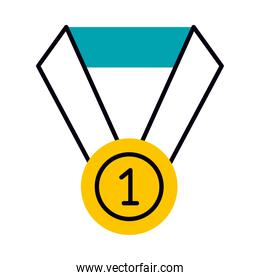 number one medal icon, half line half color style