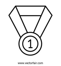 number one medal icon, line style