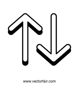 up and down arrows icon, line style