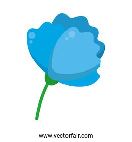 blue flower with stem icon, colorful design