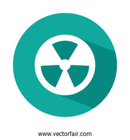 nuclear symbol icon, block style