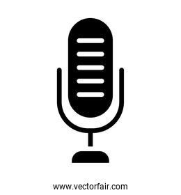 voice microphone icon, silhouette style
