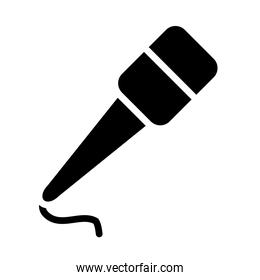 microphone with cord icon, silhouette style