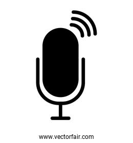radio microphone on air icon, silhouette style