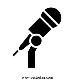 stand with microphone icon, silhouette style