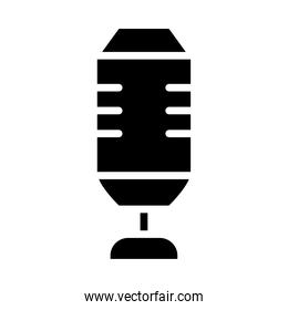 squared microphone icon, silhouette style