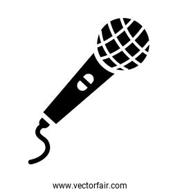 classic microphone with cord icon, silhouette style