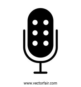 microphone with dots icon, silhouette style