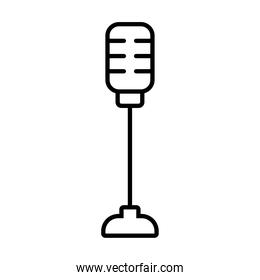retro microphone on stand icon, line style