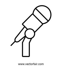 stand with microphone icon, line style