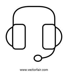 headphones with microphone icon, line style