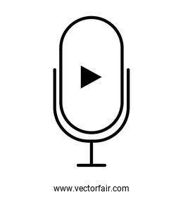 microphone with play arrow icon, line style