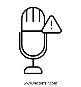 microphone with warning alert symbol icon, line style