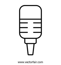 stand with microphone retro, line style
