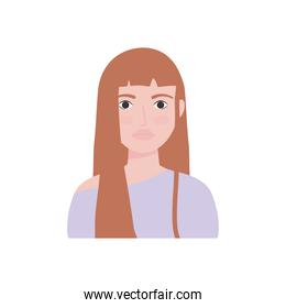 cartoon young woman icon, flat style