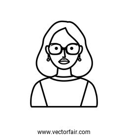cartoon hipster woman with glasses, line style