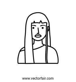 cartoon young woman icon, line style