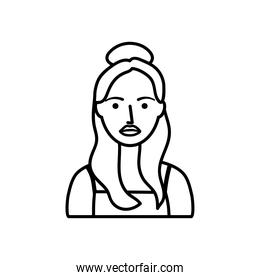avatar teenager girl icon, line style