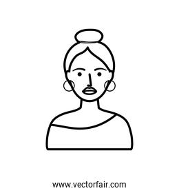 avatar woman with makeup, line style
