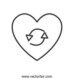 heart with round arrows icon, line style