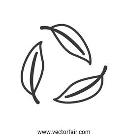 leaves in recycle symbol shape, line style