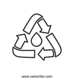 water drop with recycle symbol around, line style