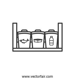 shelf with cans with garbage recycling symbols, line style