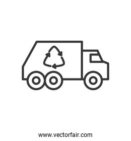 Recycling truck icon, line style