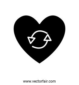 heart with round arrows icon, silhouette style