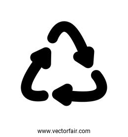 recycle arrows icon, silhouette style
