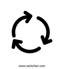 three circle arrows in a round, silhouette style