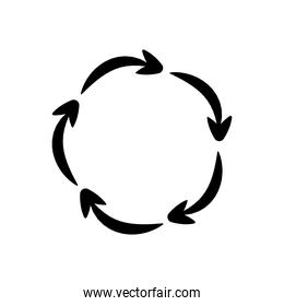 five circle arrows in a round, silhouette style