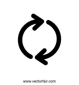two arrows in circle shape, silhouette style
