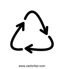 recycling arrows symbol, line style