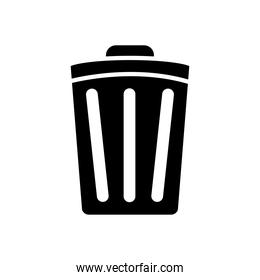 trash can icon, silhouette style