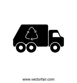 Recycling truck icon, silhouette style