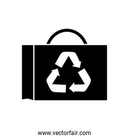 briefcase with recycling symbol icon, silhouette style