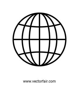 global network sphere icon, line style