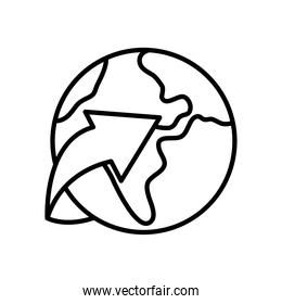 earth planet and arrow icon, line style