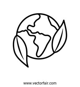 earth planet and leaves icon, line style