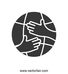 hands hugging a global sphere, silhouette style