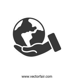 hand holding a earth planet icon, silhouette style