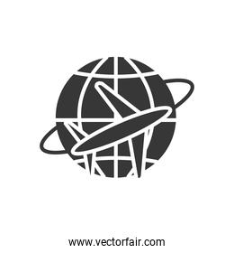 global sphere with airplane around, silhouette style