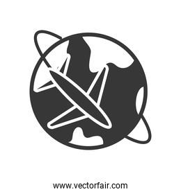airplane around the planet icon, silhouette style