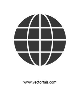 global network sphere icon, silhouette style