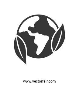earth planet and leaves icon, silhouette style