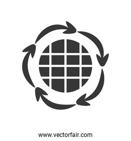 global sphere and circular arrows around, silhouette style