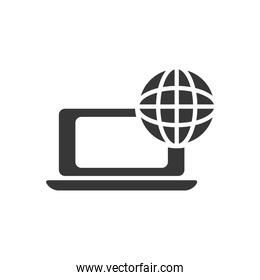 laptop computer with global sphere icon, silhouette style
