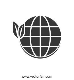 global sphere with leaves icon, silhouette style